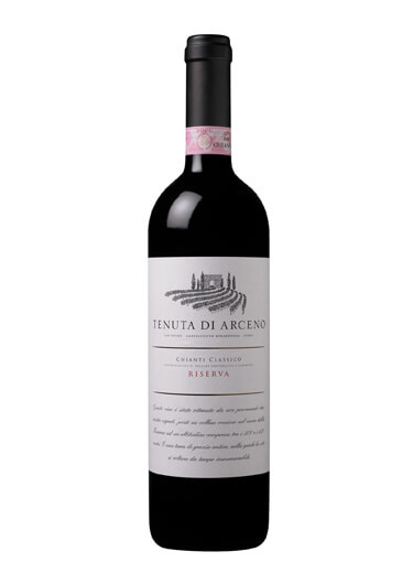wine bottle of Tenuta di Arceno against a white background